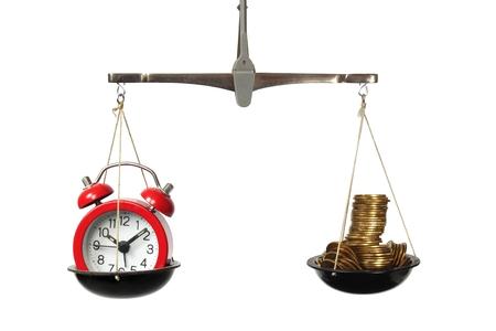 時間は、体重計、時計、コインのお金の概念