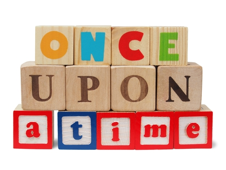 sentence: Sentence once upon a time made from wooden blocks Stock Photo