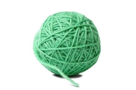craft material: Ball of knitting yarn on white background
