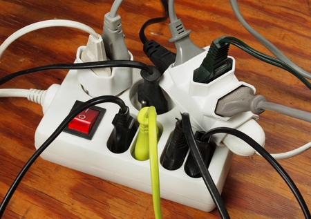 Extension cord with multiple european plugs Stock Photo