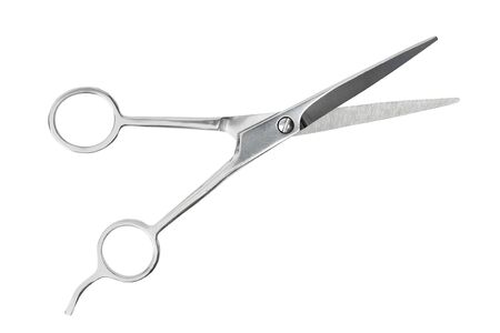 Steel barber scissors isolated on white background