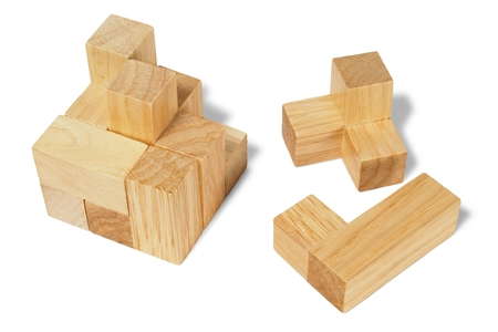 Wooden logic puzzle on white background Stock fotó - 79920138
