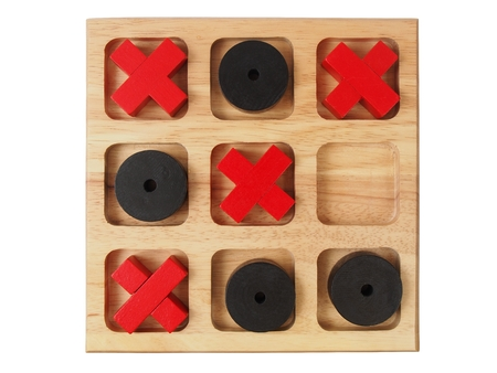 Big wooden tic-tac-toe game isolated on white background Banco de Imagens