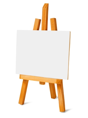 Small easel and canvas on white background