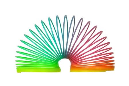 Rainbow walking spring isolated on white background Stock Photo