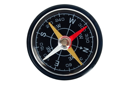 Magnetic compass isolated on white background Stock Photo