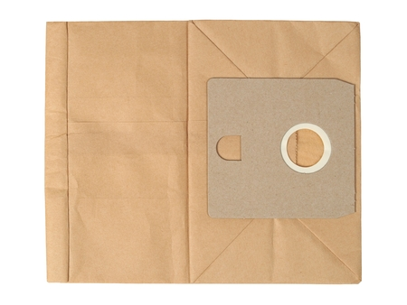 Disposable paper bag for vacuum cleaner isolated on white background