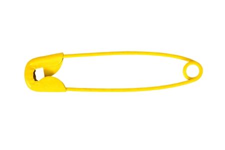 Zamknięty agrafka żółty na białym tle