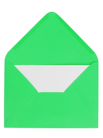 Open green envelope with white letter inside Stock Photo