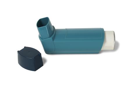 Asthma inhaler isolated on white background Stock Photo