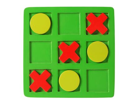 Big wooden tic-tac-toe game isolated on white background Stok Fotoğraf
