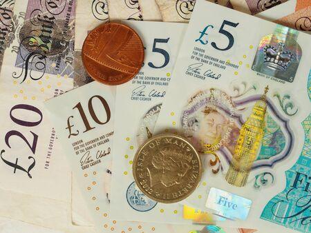 Macro of British bank notes and coins