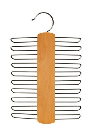 Wooden belts  hanger isolated on white background