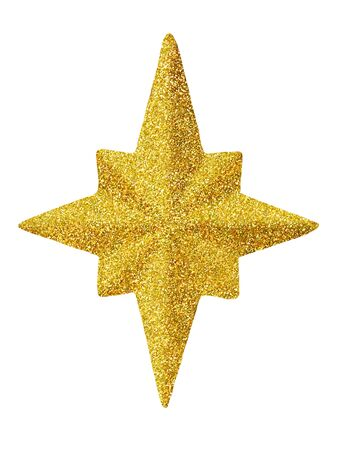 Macro of gold Christmas star isolated on white background Stock fotó