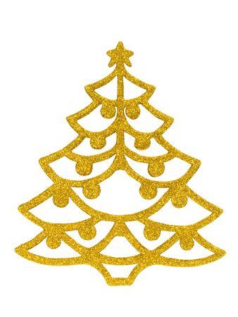 Golden Christmas tree isolated on white background
