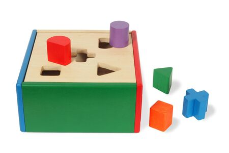 Wooden game with blocks of different shapes Banque d'images