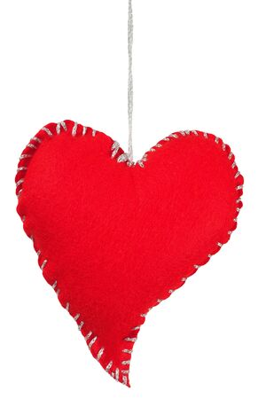 Heart as Christmas tree decoration isolated on white background