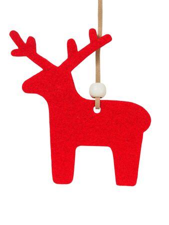 Red felt reindeer isolated on white background Stock fotó