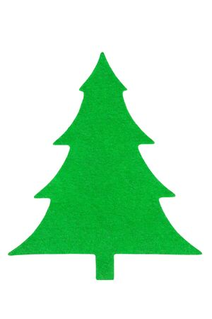 Green fabric Christmas tree isolated on white background