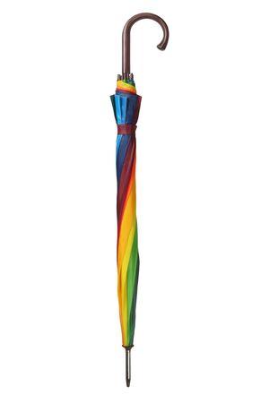 Folded rainbow umbrella isolated on white background Stock fotó