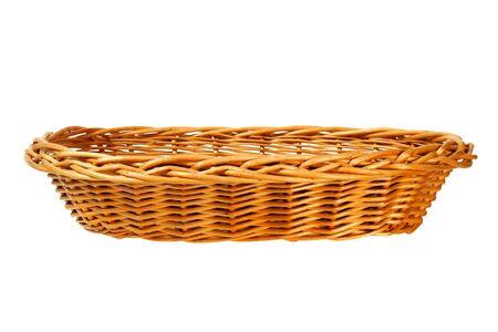 Empty wicker basket on white background Stock fotó
