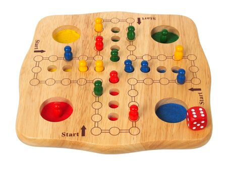 Ludo board game with die and pieces Stock fotó