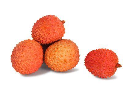 Lychee fruits on white background Stock fotó