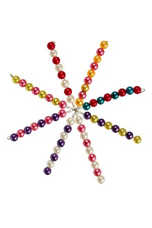 Christmas star made from beads isolated on white background Stock fotó