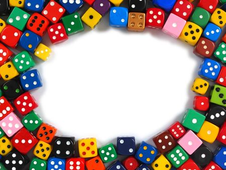 Frame made from dice with copy space inside
