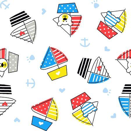 seamless pattern funny bear have fun on the ship Иллюстрация