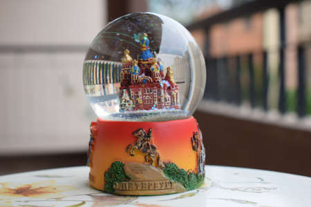 Snow globe of St Petersburg Russia. High-quality photo