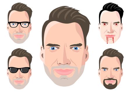 Ilustración de la cara de cinco hombres. Ilustración de vector