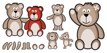 Vector set of teddy bears fully customized. Illustration