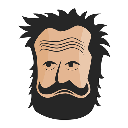 Old mans head with gnarly looking Vector illustration. Illustration