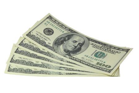 signos de pesos: Billetes de d�lares de quinientos mentir sobre un fondo blanco Foto de archivo