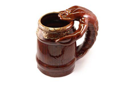 big brown mug of beer with lobster or crayfish