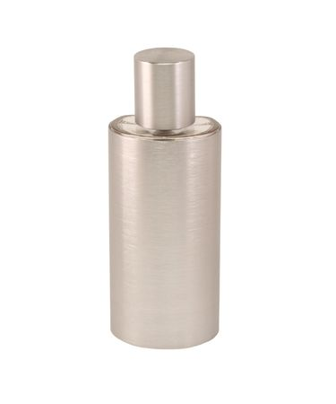 Silver perfume bottle on a white background