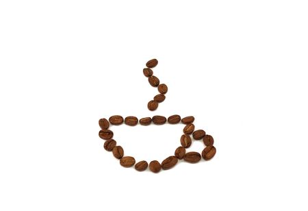 coffee beans in the form of a cup of coffee on a white background Stock Photo