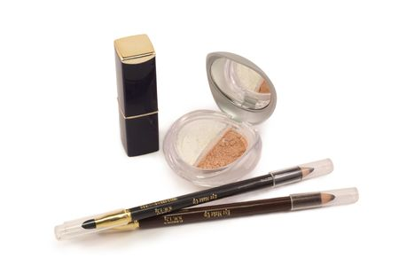 lipstick, eyeliner, eye shadow on a white background