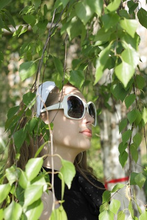 Portrait of the young beautiful girl on a background of leaves of a birch Stock Photo
