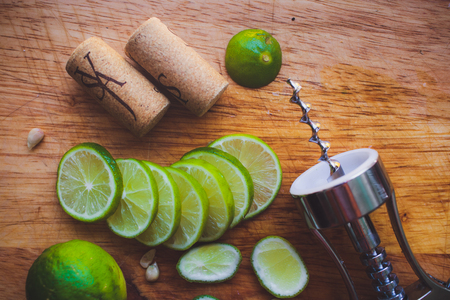 wine stains: Lime slices corkscrew, cork and wine stains