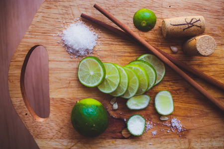 bacardi: Lime slices, sugar, cork and Chinese sticks
