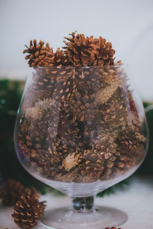 Christmas Tree cones and Christmas tree in the flask