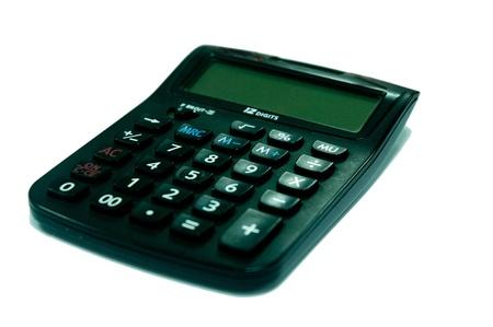 Black calculator isolated on white background photo