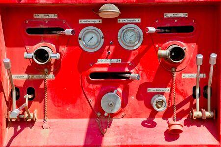 Fire truck close up equipment photo