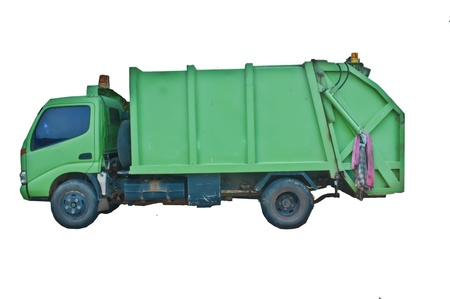 montacargas: Cami�n de basura verde. Foto de archivo