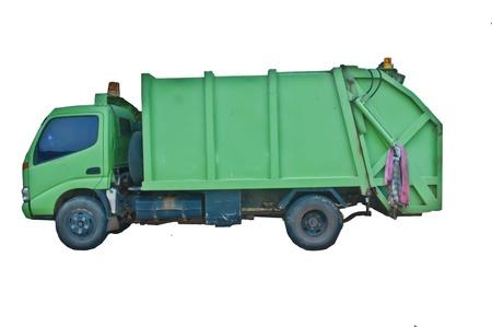 garbage truck: Green garbage truck.