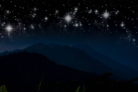 Mountain and the stars photo