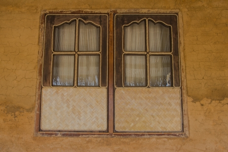 Window made of bamboo handicrafts in Thailand. photo