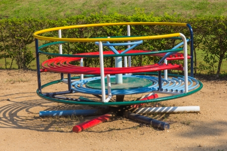 jungle gyms: Colorful Playground in the park Stock Photo